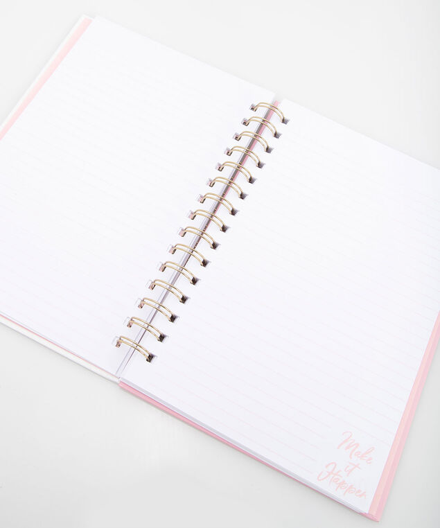Make It Happen Spiral Notebook, Pearl/Soft Pink, hi-res