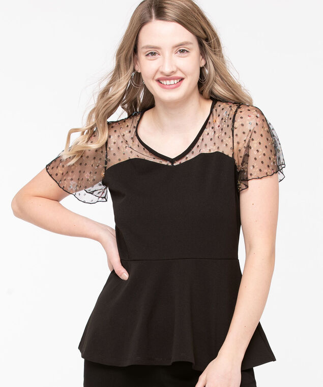 Floral Mesh Yoke Peplum Top, Black, hi-res