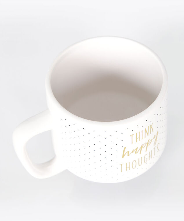 Think Happy Thoughts Coffee Mug, Black/True White/Gold, hi-res
