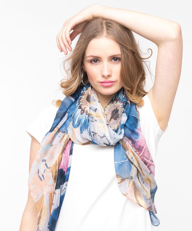 Large Floral Print Oblong Scarf, Summer Navy/Peach/Bellini, hi-res