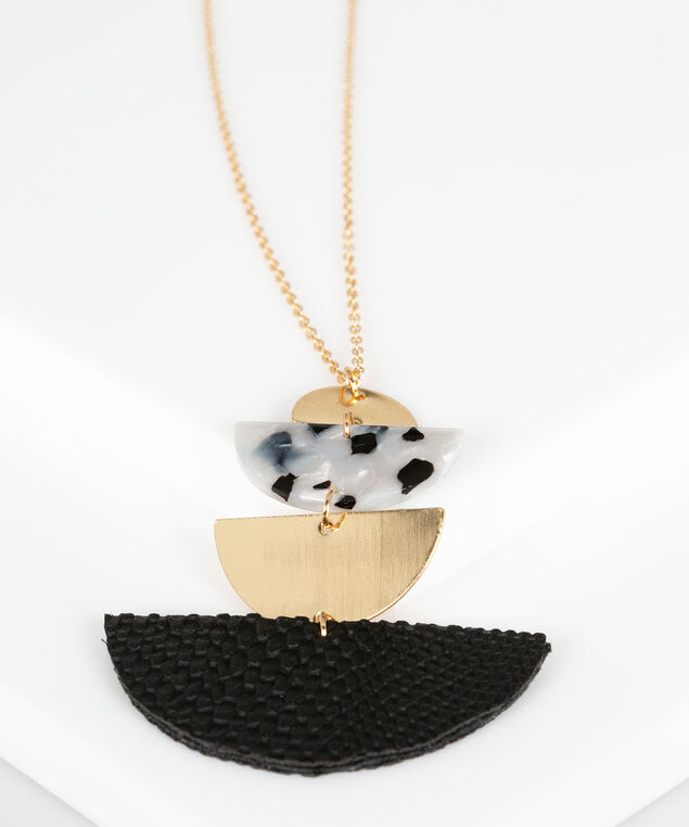 Mixed Media Pendant Necklace, Black/Gold, hi-res