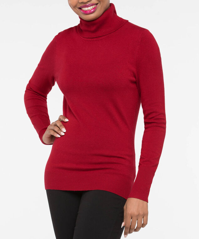 Long Sleeve Turtleneck Sweater, Crimson, hi-res