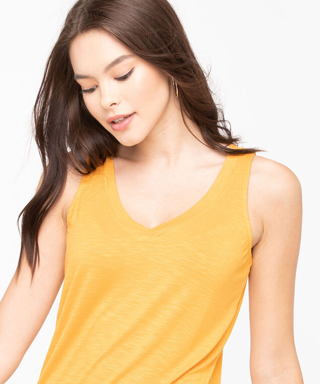 Sleeveless V-Neck Tank Top, Tumeric, hi-res