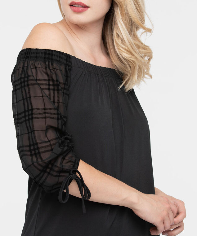 Plaid Sleeve On-Off Shoulder Top, Black, hi-res