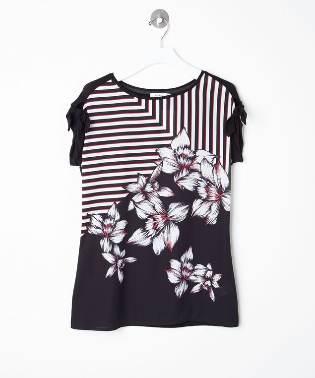Mixed Media Tie Sleeve Top, Black/Pearl/Hibiscus, hi-res