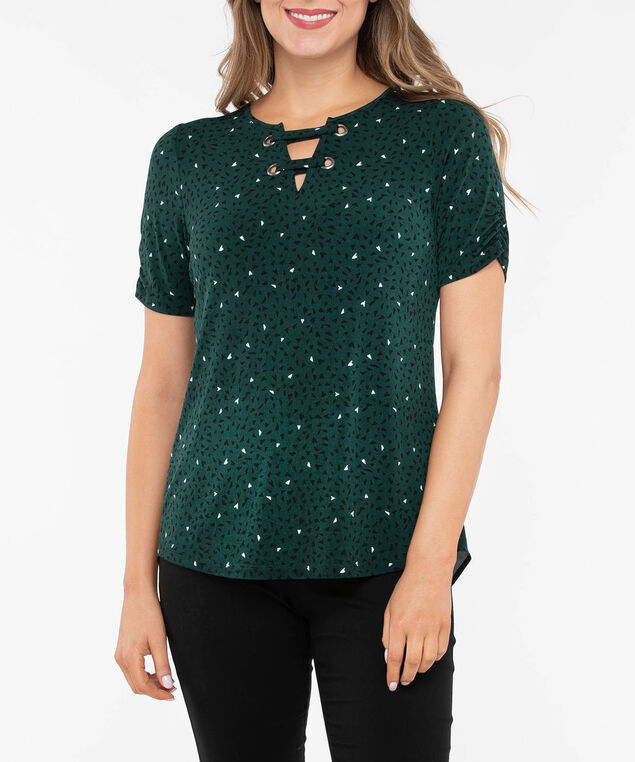 Tab Front Pleat Back Top, Deep Green/Black/Pearl, hi-res