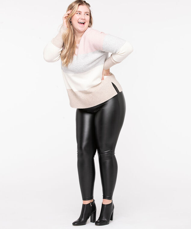 Faux Leather Ponte Legging, Black, hi-res