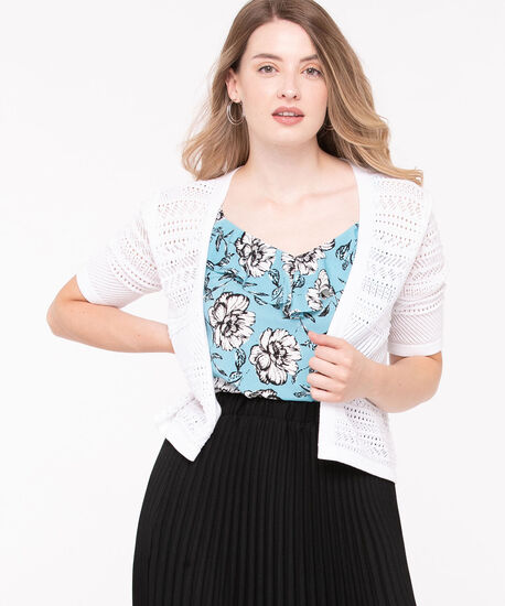 Short Sleeve Pointelle Cropped Cardigan, True White, hi-res