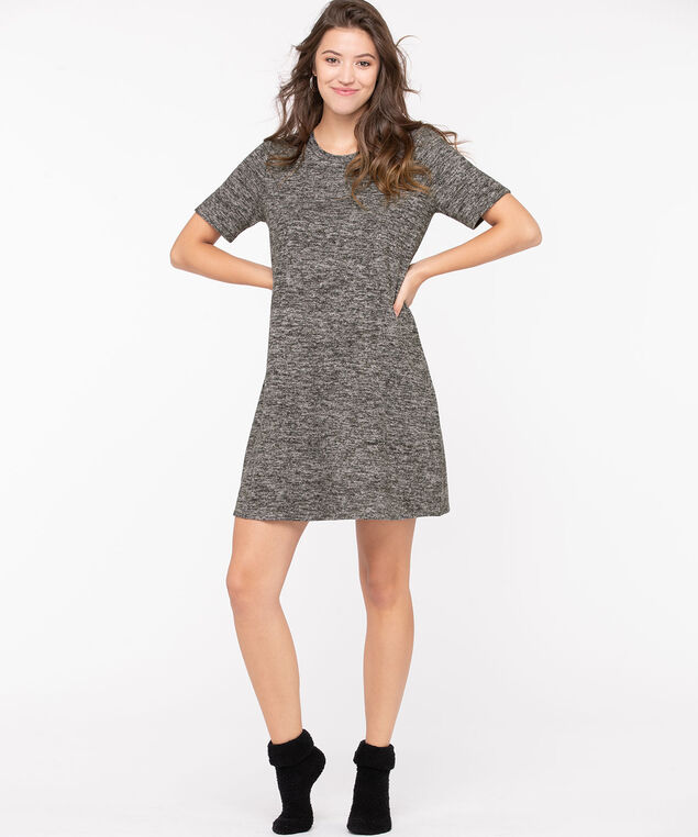 Lightweight Knit Short Sleeve Dress, Charcoal Mix, hi-res