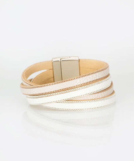 Faux Leather Wrap Bracelet, Pastel Pink/Milkshake, hi-res