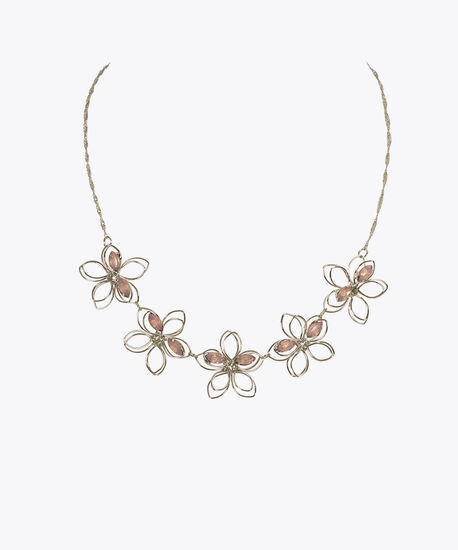 Wire & Crystal Flower Mini Statement Necklace, Iced Violet/Rhodium, hi-res