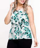 Tie-Front Sleeveless Blouse, Emerald/Pearl, hi-res