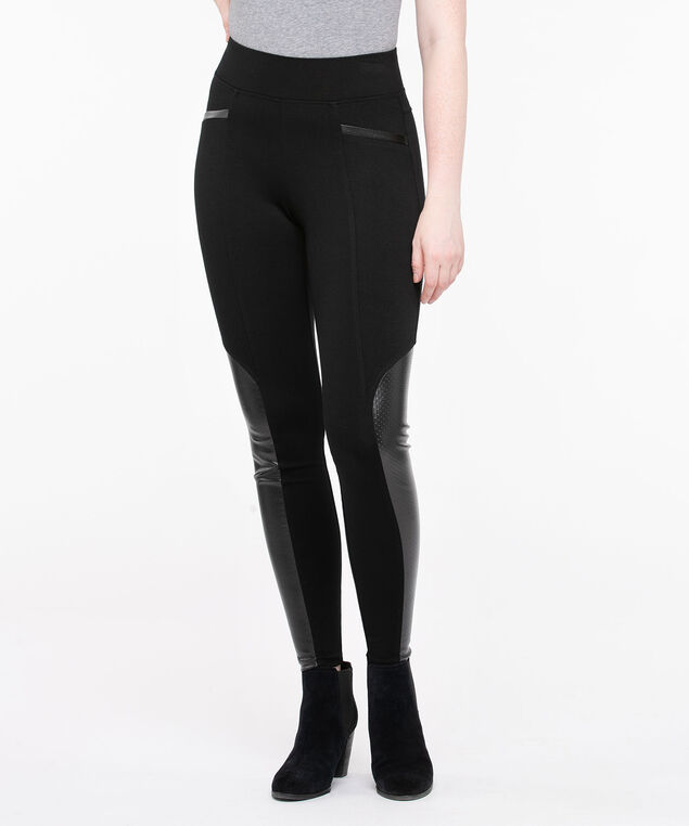 Luxe Ponte Perforated Trim Legging, Black, hi-res