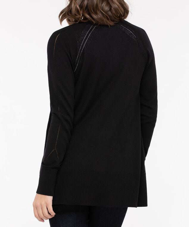 Zipper Pocket Open Cardigan, Black, hi-res