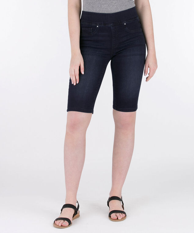 Dark Knit Denim Bermuda, Dark Wash, hi-res