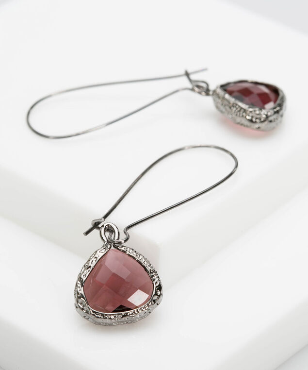 Faceted Stone Earring, Rhodium/Burgundy, hi-res