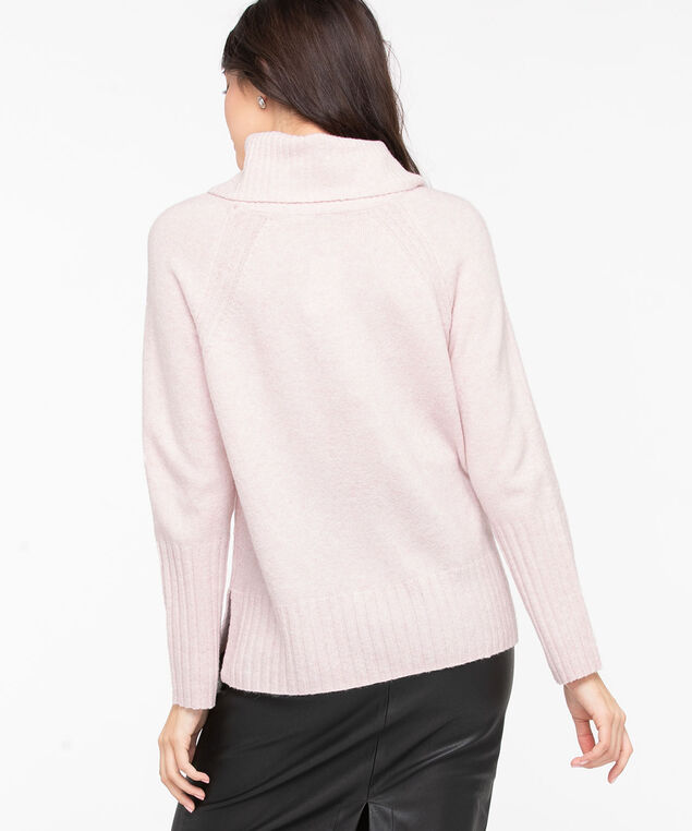 Ribbed Cowl Neck Pullover, Misty Rose, hi-res