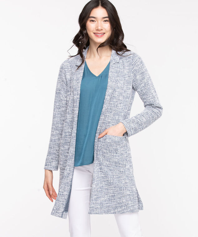 Longline Open Front Jacket, Citadel Mix