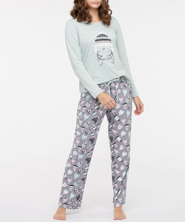 Cat Screen Tee Pajamas, Seafoam/Pearl/Black, hi-res
