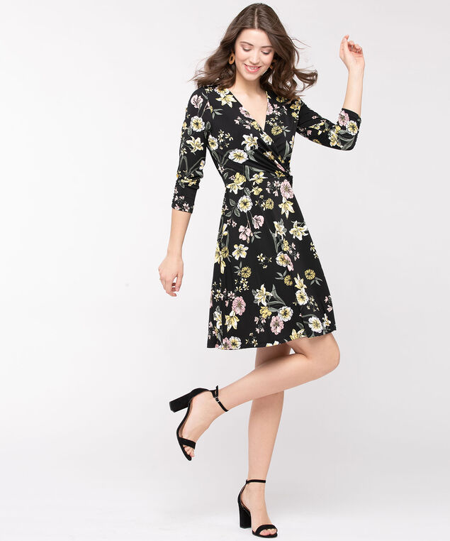 Floral Print Faux Wrap Dress, Black/Gold/Thyme/Rose Petal, hi-res