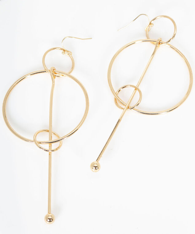 Geometric Hoop & Linear Drop Earring, Gold, hi-res