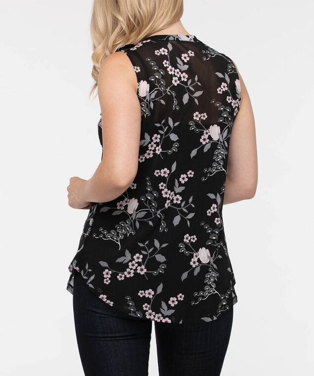 Sleeveless Button Front Floral Top, Black/Petal Pink/Grey, hi-res