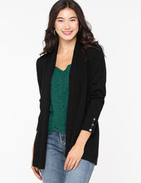 Ribbed Side Tab Open Cardigan
