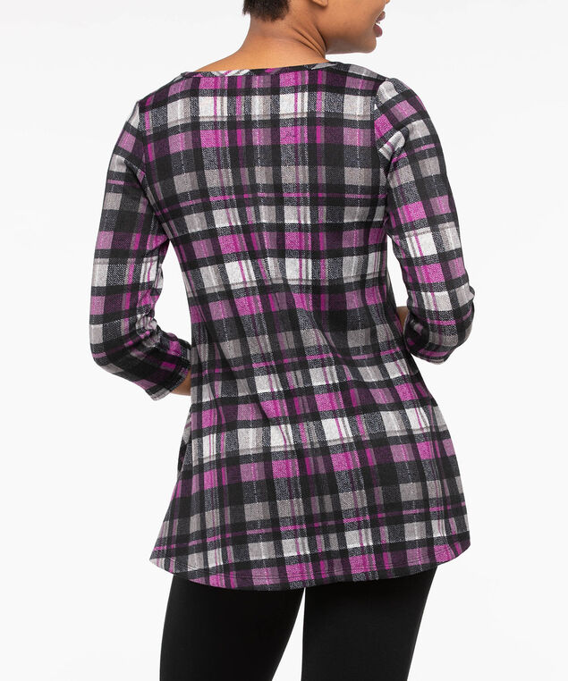 3/4 Sleeve Soft Plaid Tunic, Pink/Black/Grey, hi-res
