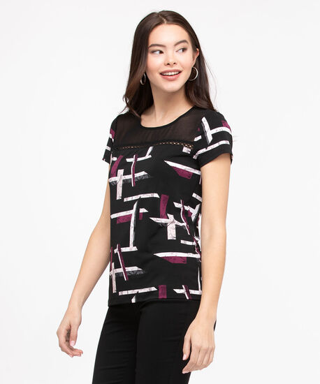 Short Sleeve Illusion Neck Top, Black/Fig/Pearl, hi-res