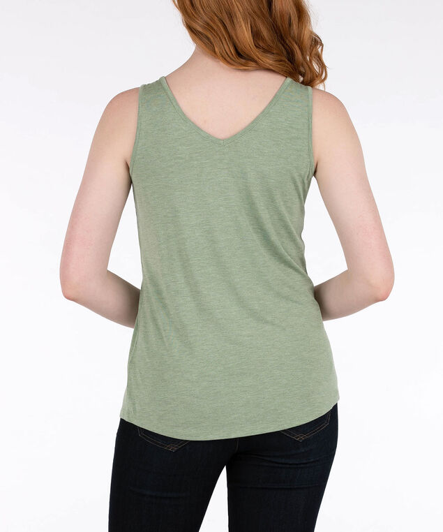 Sleeveless Zipper Front Tank, Light Sage, hi-res