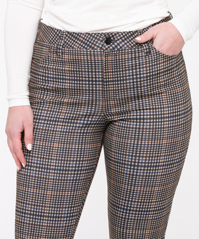 Plaid Ponte Button Front Skinny Leg, Camel Plaid