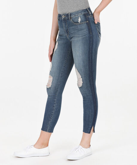Side Detail Distressed Ankle Jean, Light Wash, hi-res