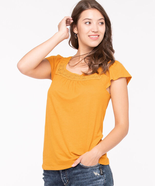 Crochet Square Neck Flutter Sleeve Top, Tumeric, hi-res