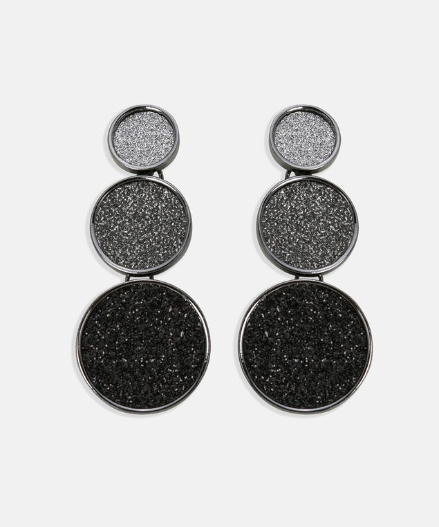 Stacked Glittery Disc Earring, Rhodium/Grey/Black, hi-res