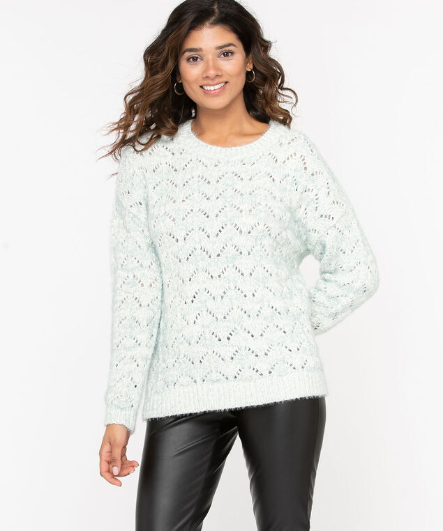 Chenille Pointelle Sweater, Pastel Mint Mix, hi-res