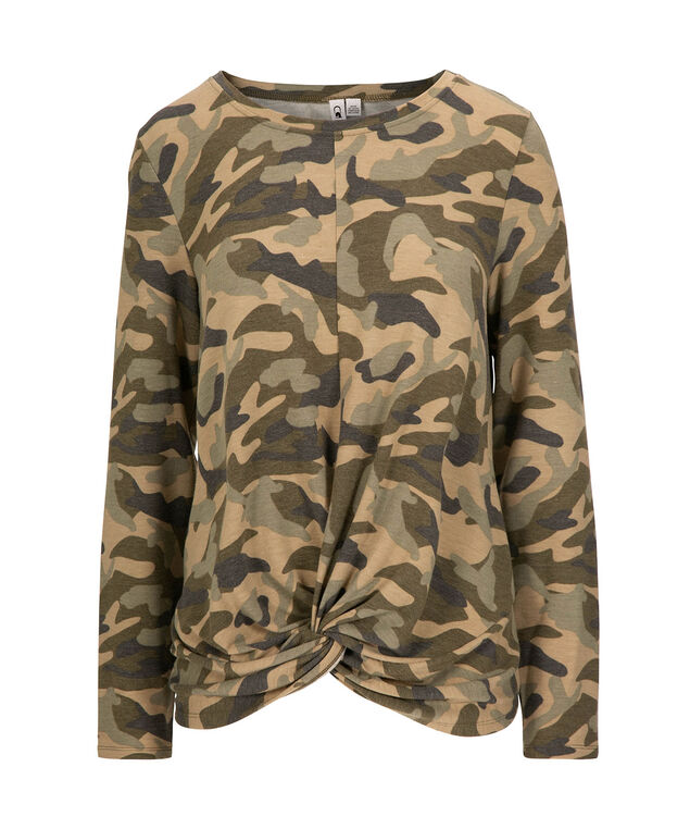 Camo Twist-Front Top, Olive Mix, hi-res