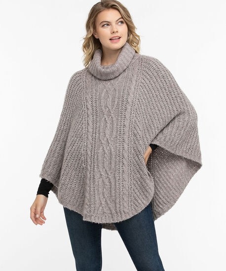 Cable Knit Cowl Neck Poncho, Heather Grey, hi-res