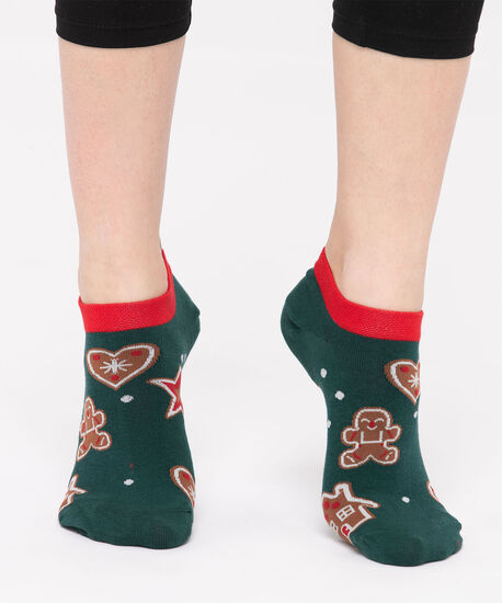 Gingerbread Man Ankle Socks, Green/Red/Brown, hi-res
