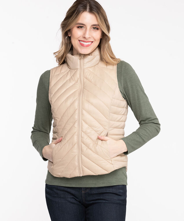 Packable Puffer Vest, Cement