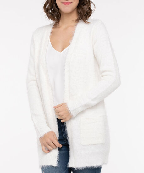 Feather Yarn Patch Pocket Open Cardigan, Pearl, hi-res