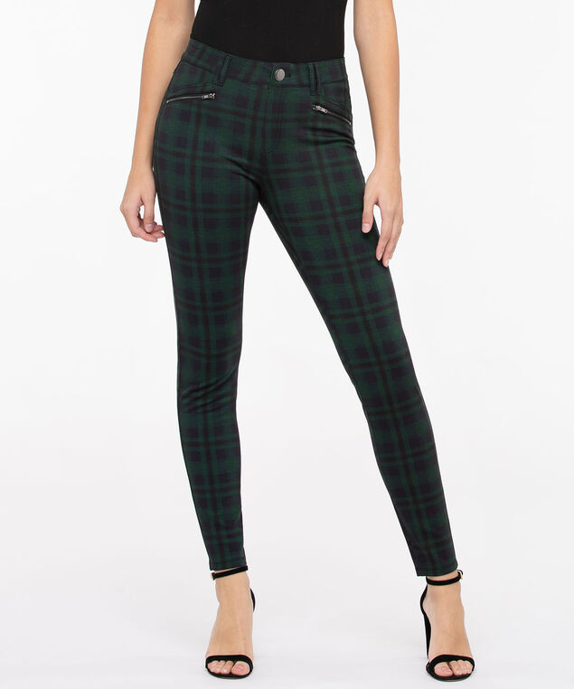 Luxe Ponte Plaid Skinny Leg, Deep Green/True Navy, hi-res