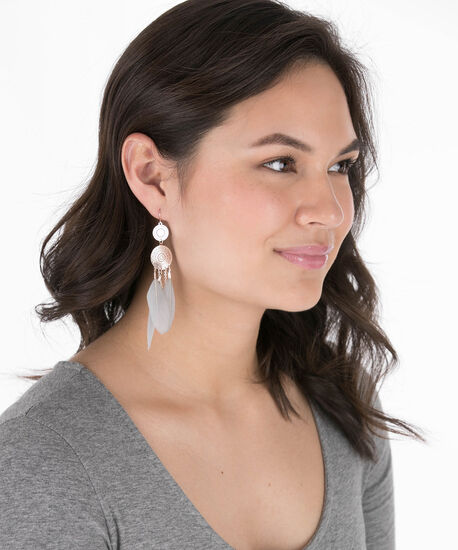 Filigree Disc & Feather Earring, Grey/Rose Gold, hi-res