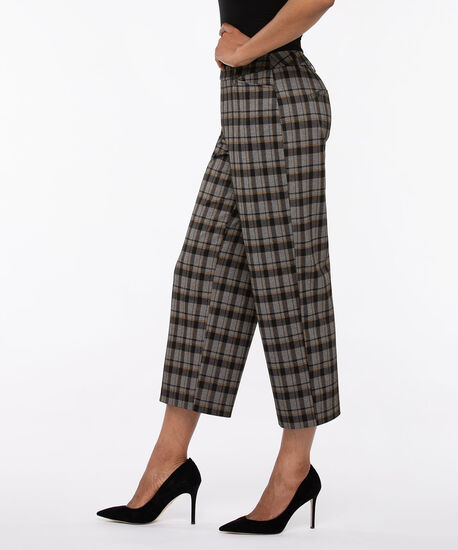 Ponte Wide Leg Cropped Pant, Black/Mustard/Charcoal, hi-res