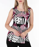 Sleeveless Keyhole Pintuck Top, Pearl/Pink/Black, hi-res