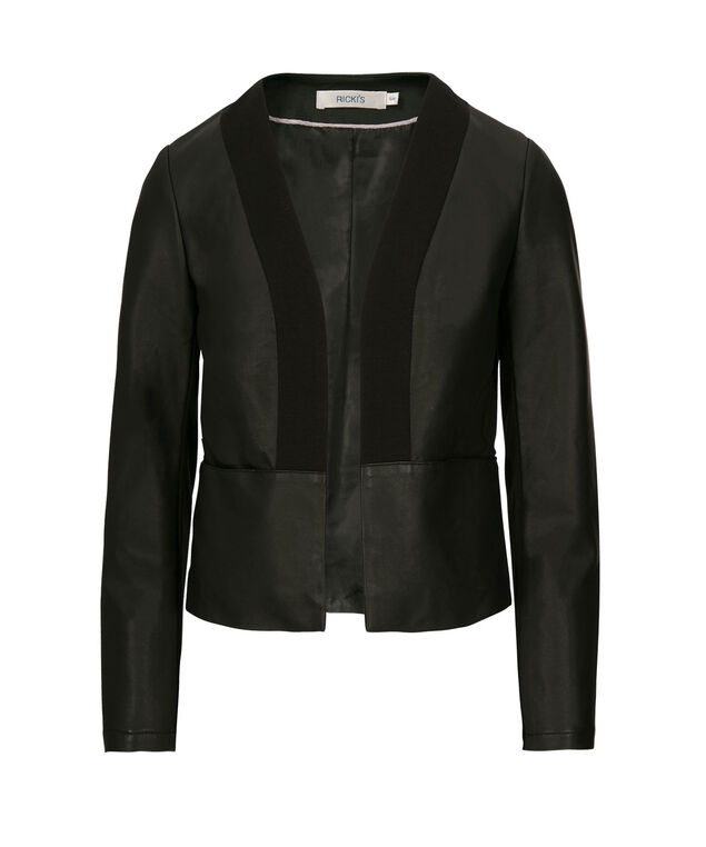 Faux Leather Knit Trim Blazer, Black, hi-res