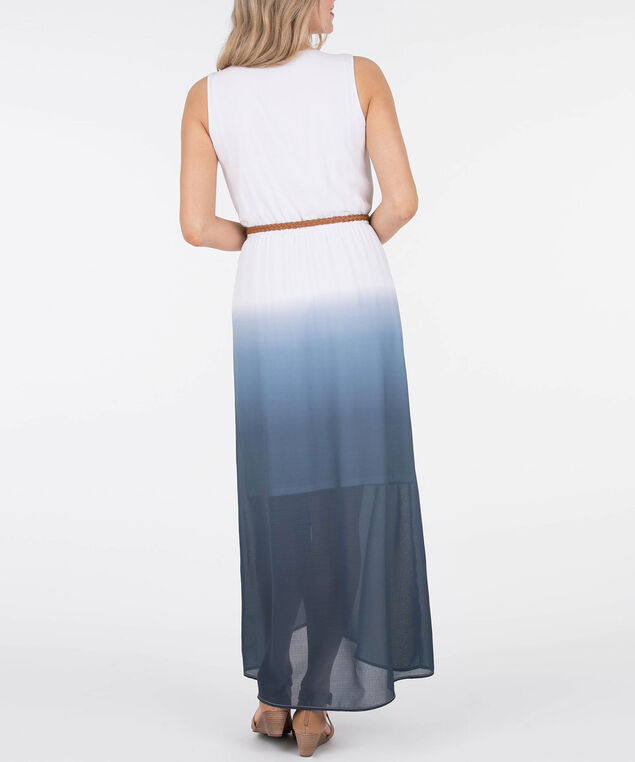 Belted Ombre High-Low Dress, Blue/White, hi-res
