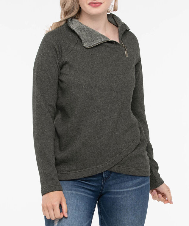 Long Sleeve Fleece Lined Zipper Pullover, Mid Heather Grey, hi-res