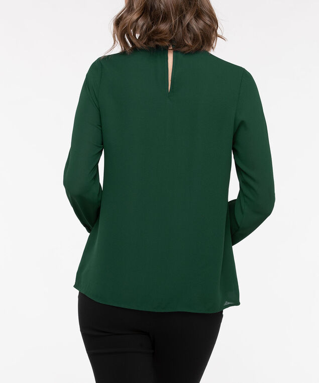 Long Sleeve Twisted Keyhole Blouse, Deep Green, hi-res