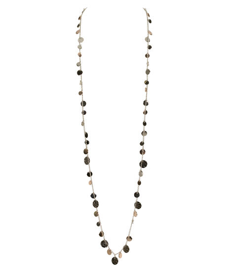 Mixed Metal Stationed Disc Necklace, Rhodium/Rose Gold/Hematite, hi-res