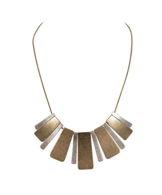 Mixed Metal Geo Statement Necklace, Burnished Silver/Antique Gold, hi-res